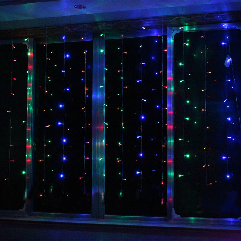hanging 300led 3mx3m backgrouds curtain fairy icicle. Black Bedroom Furniture Sets. Home Design Ideas