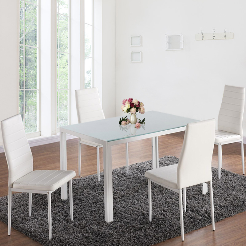 Admirable Details About Tempered Glass Dining Table Set And 4 Faux Leather Chairs Kitchen Furniture Wht Short Links Chair Design For Home Short Linksinfo
