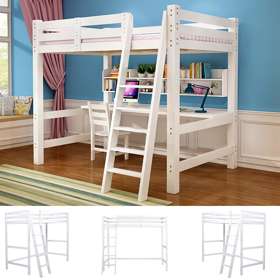 Details About Cabin Beds High Sleeper Bunk Pine Wood With Ladder Loft Or Metal Frame With Desk