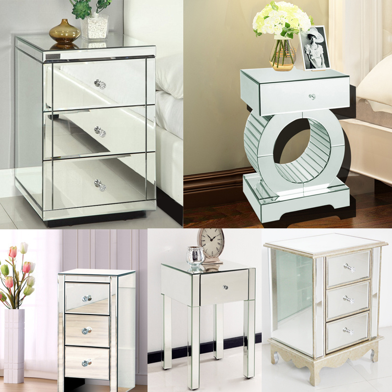 Various Bedroom Furniture Venetian Glass Mirrored Bedside Table Cabinet Drawe