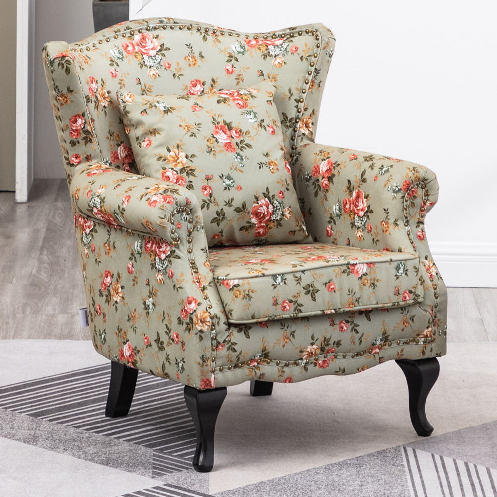 Details About Wingback Accent Armchair Sofa Flower Pattern Large Single Leisure W Cushion