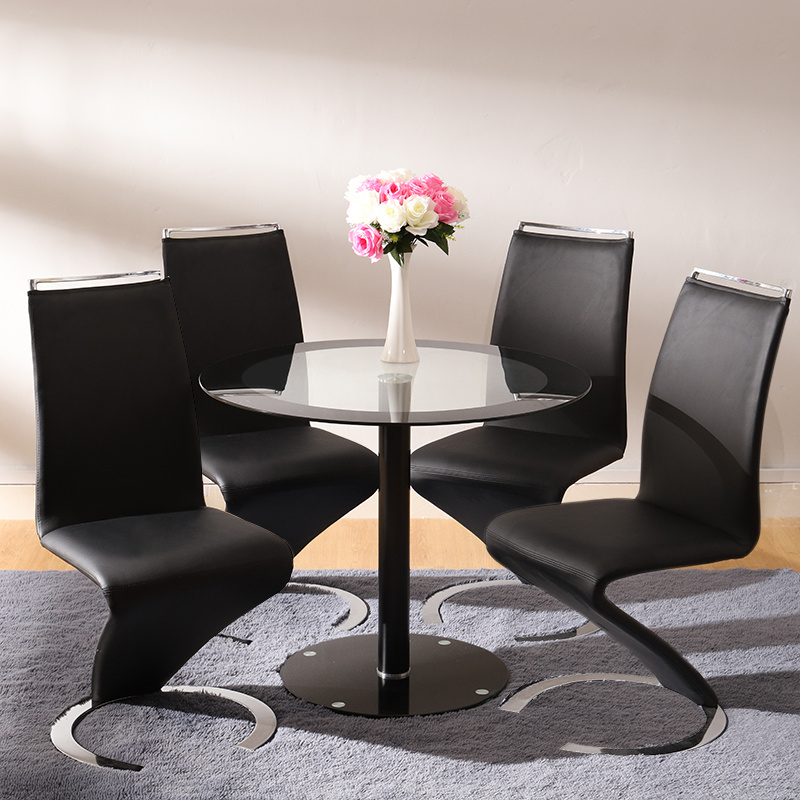 Round Glass Dining Table 4 Chairs Chrome Legs Home Kitchen