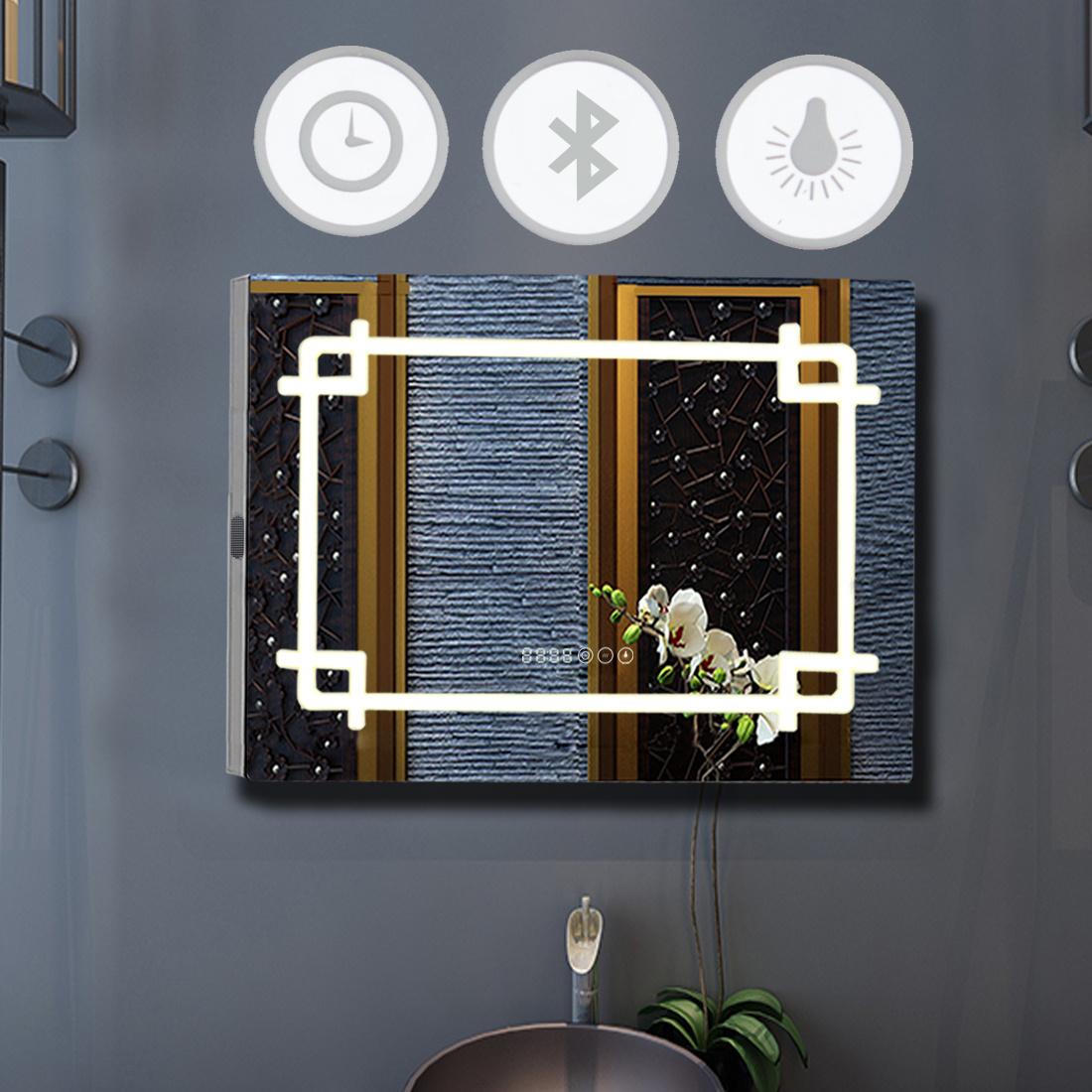 Illuminated Led Bathroom Mirror Bluetooth Speaker Sensor Shaver Clock Demister Ebay