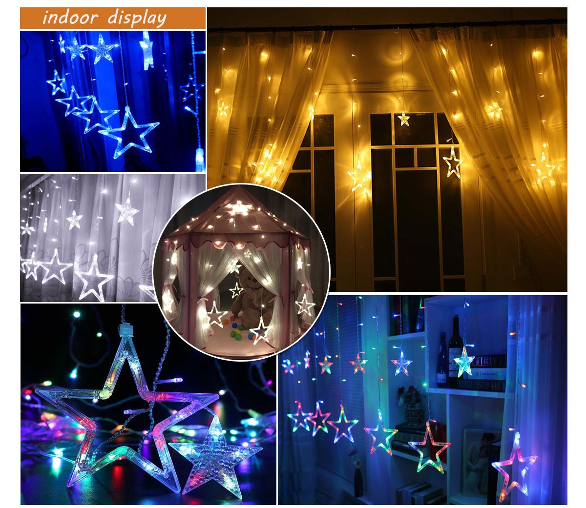 Christmas Stars Window Curtains 48-LED Display Lights ...