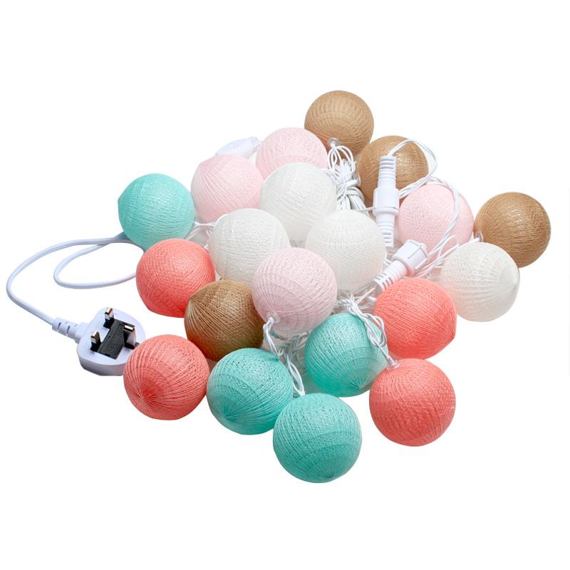 5m 20 Mix 4 Colors Pastel Cotton Pony Ball Fairy Led