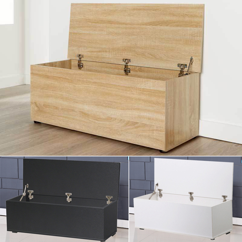 Details About Large Ottoman Wooden Storage Box Chest Bench Seat Toy Bedding Trunk Cabinet Lid