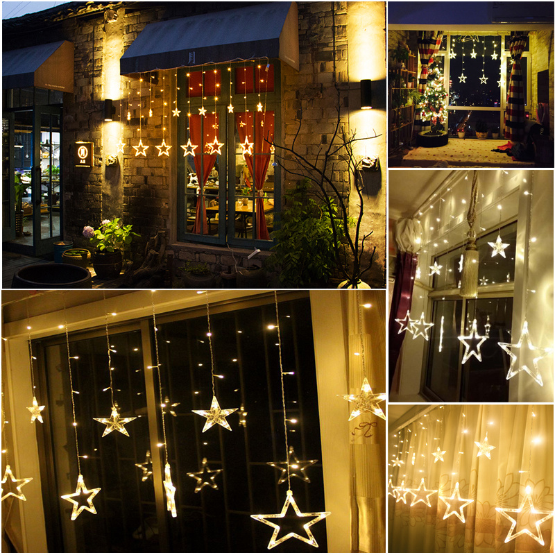 White 168LED Acrylic Star Pendant Fairy String Light Curtain Window Bedroom Door eBay