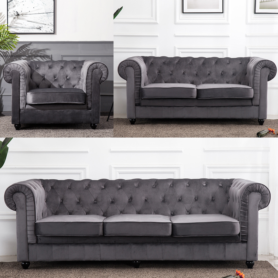 Fabric Chesterfield Style Sofa 1 2 3