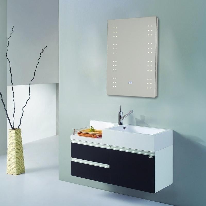 700x500mm Illuminated Bathroom Mirror 60 Led Ip44 Sensor Switch Clock Display Uk Ebay