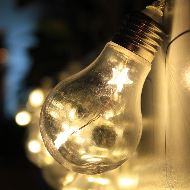 Warm White 10 Edison Bulbs 20 Stars LED 8.2FT String Fairy Lights Parasol Gazebo eBay