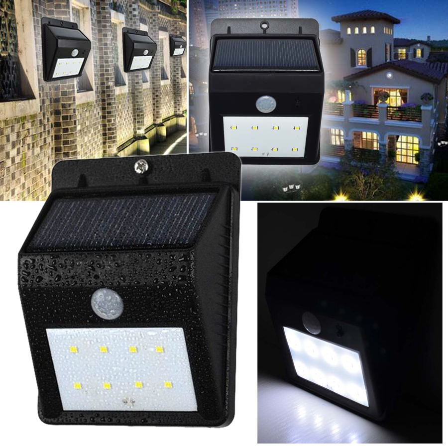 Corner Wall Security Light : 8 LED Motion Sensor Solar PIR Security Lights Spotlights Garden Wall Corner Roof
